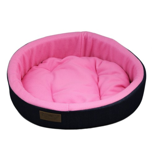 Denim Circular Pink Warm Pet Bed Dog Couch