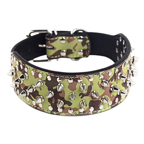 Personality Rivet Adjustable Dog Collars Camouflage