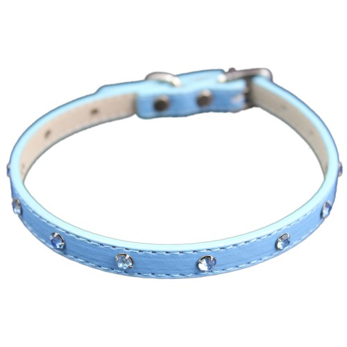 Blue Metallic Crystal Adjustable Pet Collars