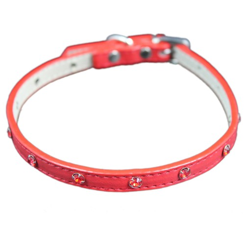 Red Metallic Crystal Adjustable Pet Collars