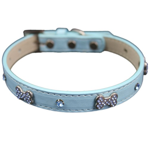 Bone Pendent Rhinestone Dog Collars Blue