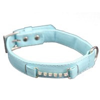 Rhinestones Chain Dog Collars-Blue