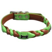 Green Brown Bone Dog Collars