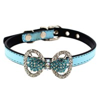 Vogue Diamond Butterfly Bow Pet Collars-Blue