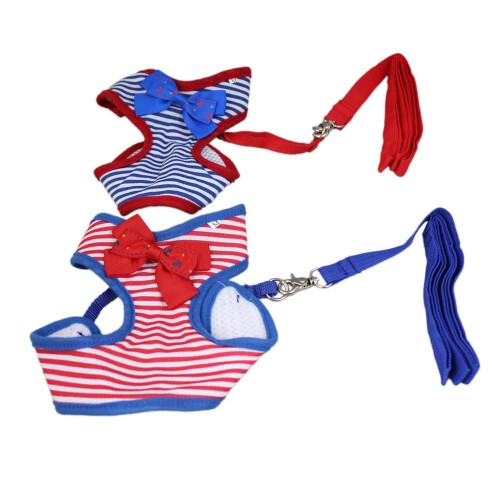 Dog Sailor Stripes Bow Harness&Leash Sets 1 Piece